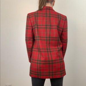 Vintage Jackets & Coats - VINTAGE Red Plaid Wool Blazer | C13